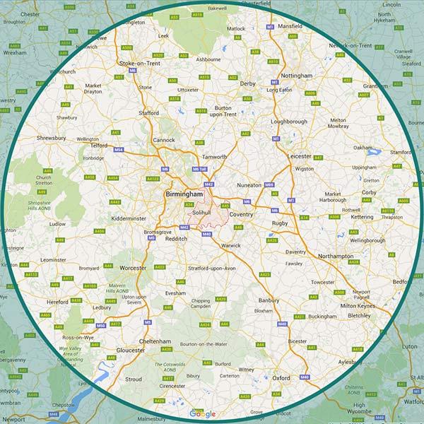 Location map: Midlands, East Midlands, Warwickshire, Worcestershire, Shropshire