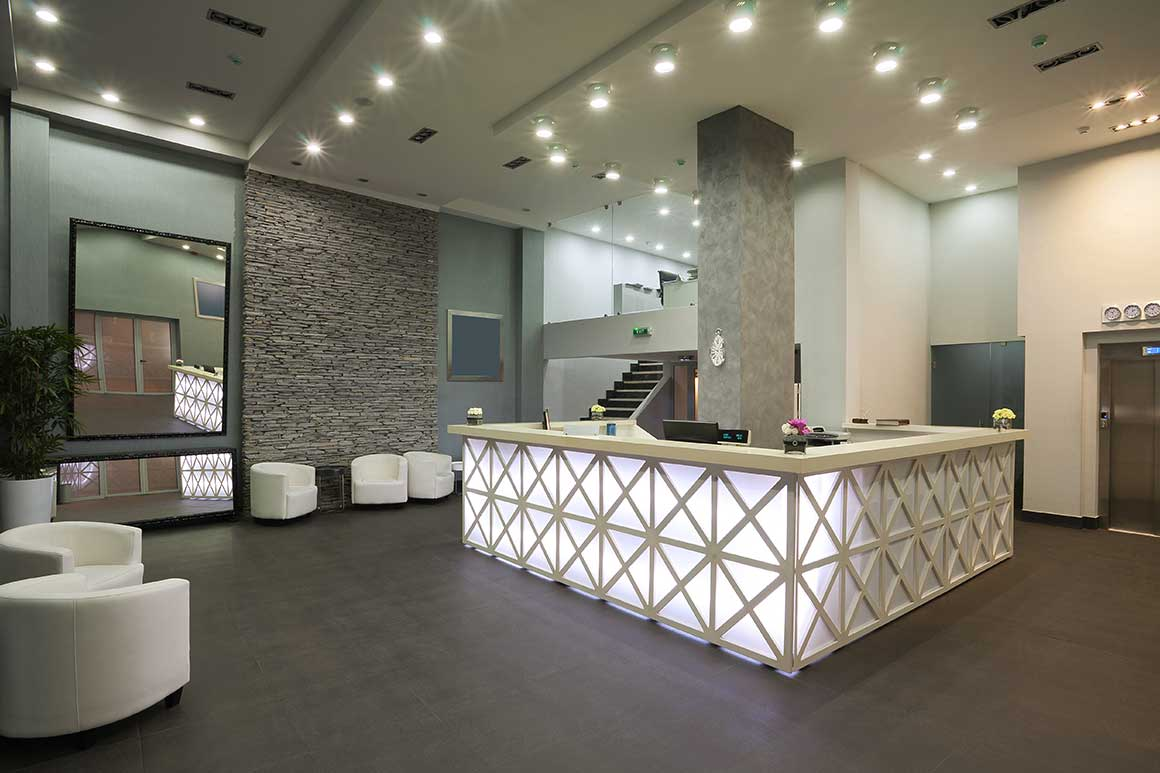 office reception fitting commercial premises